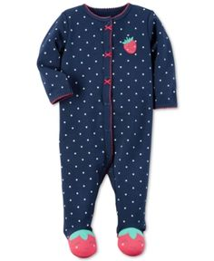 Carter's 1-Pc. Dot-Print Strawberry Footed Coverall, Baby Girls (0-24 months) - Blue 3 months