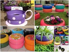 Tire Ideas For Backyard Awesome Projects That You'll Love Preschool Garden, Sensory Garden, Kids Outdoor Play, Outdoor Learning, Outdoor Projects, Garden Projects, Painted Tires, Tire Art, Tire Planters
