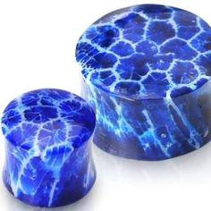 """Blue Coral Earlets 1/2"""" Gauge"""