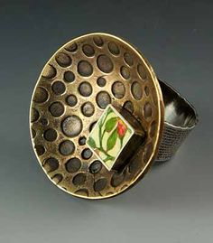 Bud - By Sarah J.G. Wauzynski. (Ring in sterling silver, egg tempera and bronze)