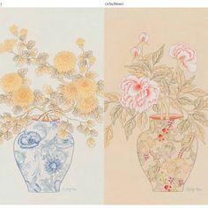 #민화아트페어 #민화 #화병도 #모란화병도 #국화화병도 #꿈  아트페어 출품할 작품중 마지막 작업   떨리고..수줍다..고마웠어 즐거운작업이었던..  .창작작업으로 불펌 및 도용을 금합니다. Pineapple Planting, Painted Vases, Blue Painting, Potted Plants, Textile Design, Cherry Blossom, Art Projects, Chinese, Textiles