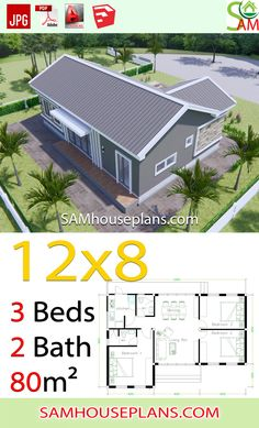 House Plans 12x8 with 3 Bedrooms Gable roof - Sam House Plans