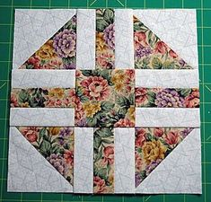 "Paths & Stiles Quilt Block Pattern - 9"" Blocks Very,Very, Very Crisp.Like a juicy fall apple. Two main fabrics...One floral. The other white on white. Solid narrow sashing.. by jodie brackin"