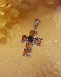 Vintage Amber Cross Sterling Silver by TracyBDesignsAZ on Etsy, $79.00