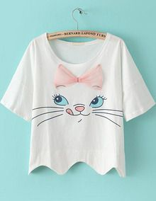 White Short Sleeve Bow Cat Print Crop T-shirt US$13.50