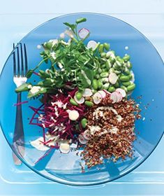 Quinoa and Vegetable Salad With Tahini Dressing from realsimple.com #myplate #protein #vegetables