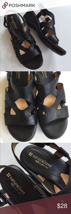 """NWOT Naturalizer leather sandals New without tags; Beautiful black leather with Velcro closure; 2"""" heel/1/2"""" platform; comfy footbed; these shoes are super lightweight and comfy! Smoke-free/pet-free home. Naturalizer Shoes Sandals"""