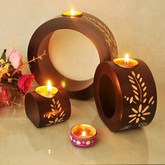 ==> [Free Shipping] Buy Best Three Pieces Set Vintage Round Candle Holder Handmade Carved Wooden Candleholder Home Deco Anniversary Gift Wedding Gift Online with LOWEST Price | 32753364279