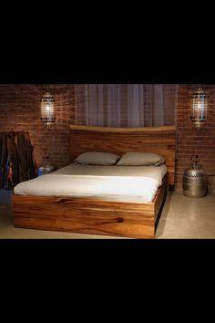Lit en bois ideas for the house pinterest - Lit en rondin de bois ...