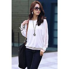 Women's Plus Size Batwing Sleeve Cotton Loose Blouse - Solid 2018 - $7.99
