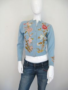Vintage EMBROIDERED CASHMERE Cardigan Sweater Helen Bond Carruthers Style. $350.00, via Etsy.