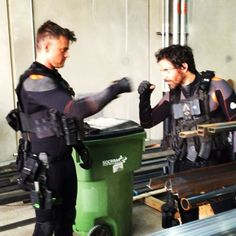 Josh Dumahel and Santiago Cabrera on set of Transformers: The Last Knight