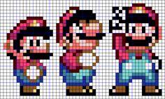 マリオの色々なポーズのアイロンビーズ図案