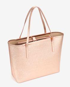 Large metallic leather shopper bag - Rose Gold | Bags | Ted Baker AU