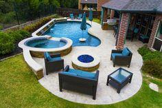 Rockwall Pool Design Dallas Photo Gallery Outdoor Living – Freeform Pool and Spa… – Backyard
