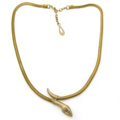 Vintage Art Deco Gold Tone Snake Flat Chain Necklace | Clarice Jewellery | Vintage Costume Jewellery