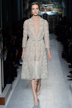 """""""Le clavier de la nature"""" trench in embroidered tulle with crystal flower sequins and dress in tulle and chantilly foin coupè.  Shoes embroidered with crystal sequins.    http://www.valentino.com/en/collections/haute-couture/"""
