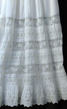 Wonderful antique (petticoat? nightgown?) with techniques of heirloom sewing - pintucks, entredeux, gathers, you name it