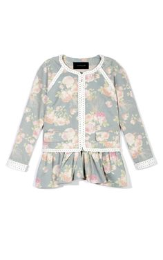 Thakoon Rose Bouquet Ruffle Peplum Jacket