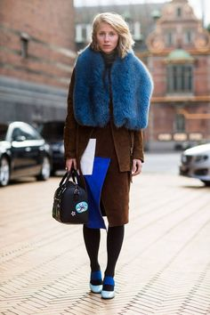 blue faux fur