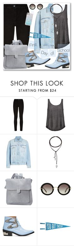 """First Day of School"" by nantucketteabook ❤ liked on Polyvore featuring Paige Denim, Enza Costa, Alexander McQueen, Vanessa Mooney, Le Donne, Miu Miu, Toga, Three Potato Four, Casetify and BackToSchool"