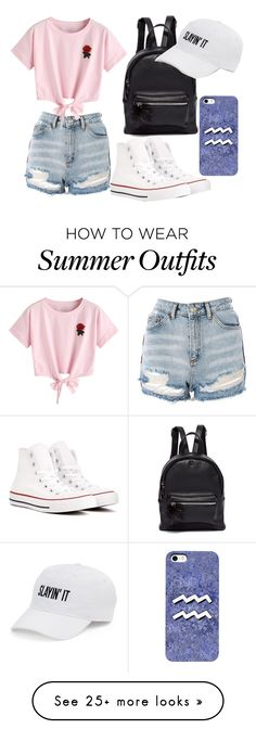 """on the go summer outfit"" by nowmine on Polyvore featuring Topshop, Converse, WithChic, New York & Company and SO"