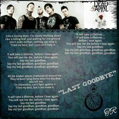 """""""Last Goodbye"""" Dead By April Love Again, My Love, Let Me Down, Take That, Let It Be, Stop It, Everyone Else, My Passion, Song Lyrics"""