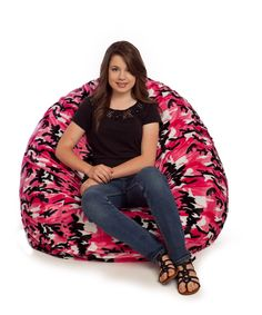 PINK CAMO FUR BEAN BAG CHAIR, LARGE Fur Bean Bag, Large Bean Bag Chairs, Pink Camo, Design