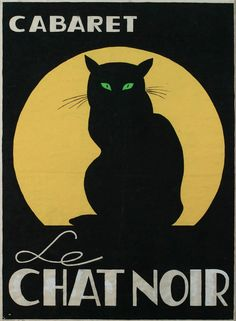 "Poster by Escher Gielijn, 1961,   Cabaret ""Le chat noir"". (Nederland)"