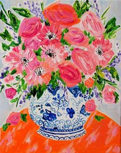 "Original Still Life, Coral Roses and Daisies in Blue and White Ginger Jar, Acrylic on Canvas, x ""Allison"" Coral Roses, Bohemian Flowers, Floral Flowers, Jar Art, Blue And White Vase, Pintura Country, Rose Art, Arte Floral, Ginger Jars"