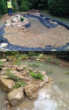 Wildlife Pond in Esher, Surrey - DIY Garten Landschaftsbau Fish Ponds Backyard, Outdoor Ponds, Koi Fish Pond, Backyard Water Feature, Outdoor Fountains, Garden Ponds, Koi Ponds, Backyard Stream, Backyard Waterfalls