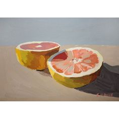 Grapefruit painting Painting Still Life, Still Life Art, Paintings I Love, Original Paintings, Painting & Drawing, Watercolor Paintings, Gouache Painting, Fruit Painting, Fruit Art