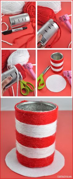 Turn a recycled aluminum can into a cute wrapped yarn pencil cup craft. The book that inspired this craft is 'The Cat in the Hat'. http://hative.com/dr-seuss-crafts-for-kids/