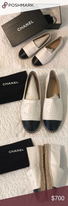 Chanel Espadrilles Brand new! Never worn! No damage, no trades! Dust bag and box included. Firm on price so please no lowball offers. Purchased from Bergdorf Goodman. Size 39, but box says 40 because they were in the wrong box when I purchased them and it was the last pair they had! CHANEL Shoes