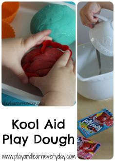 An easy recipe to make the best play dough ever, using just a few simple ingredients including Kool Aid and other things that you would have in your kitchen.  It lasts for ages and smells incredible!