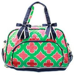 3dc17d50669f Personalized Moroccan Diamond Mint Coral Navy Quilted Duffle Tote Bag - Gifts  Happen Here - 1