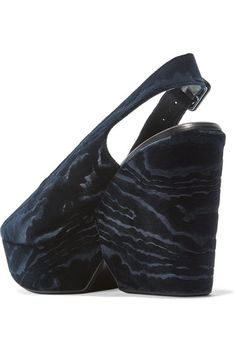 Robert Clergerie - Dylantin Velvet Platform Sandals - Midnight blue - IT41.5