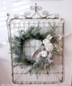 Repurposed Old Garden Gate Christmas Wreath