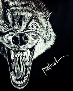22*18 inches big wolf painting for sale 1500/-