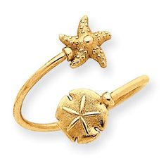 14k Sand Dollar and Starfish Toe Ring Jewelry Adviser Rings. $109.76