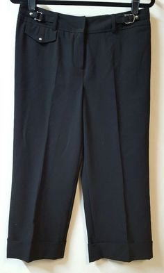 c1cfea79bee Larry Levine Stretch Black Cropped Capri Pants Size 10 32X21 Cuffs Buckles   LarryLevine  CaprisCropped