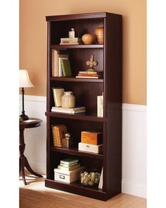 Better Homes and Gardens Ashwood Road Bookcase Cherry Finish ~ I have this in my living room. It is beautiful for DIY furniture. 5 Shelf Bookcase, Wood Bookshelves, Book Shelves, Cube Storage, Storage Shelves, Cherry Bookcase, Wooden Books, Just Dream, Home Office Furniture