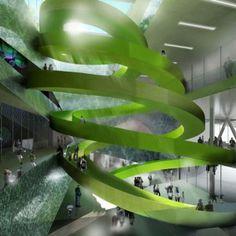 Green spiral staircase - Experimentarium Science Centre Copenhagen by CEBRA / @deezen | #dinamarques