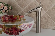 Aquafaucet Single Handle Centerset Waterfall Bathroom Sink Faucet, Basin Lavatory Vanity Mixer Tap, Nickel Brushed