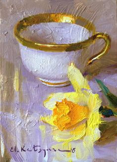Golden Teacup, Yellow Daffodil by Elena Katsyura Oil ~ 7 x 5