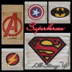 Superheros - Avengers, Captain America, Batman, The Flash, Superman string art. Check us out on Facebook at All Strung Up. https://www.facebook.com/pages/All-Strung-Up/915873695199667?ref=hl