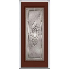 Milliken Millwork 37.5 in. x 81.75 in. Heirloom Master Decorative Glass Full Lite Painted Fiberglass Smooth Exterior Door, Redwood