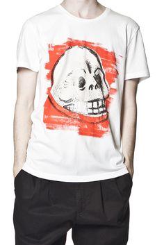 Bruce Tee Chalk Skull White