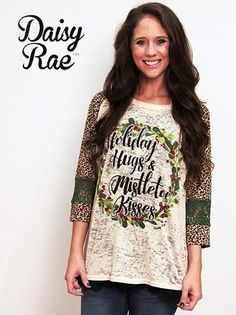 Holiday Hugs and Mistletoe Kisses Burnout with Cheetah Sleeves and Green Lace