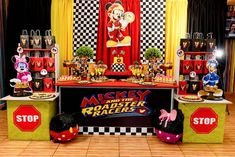 Image may contain: 1 person Mickey Mouse Birthday Theme, Fiesta Mickey Mouse, Race Car Birthday, Birthday Themes For Boys, Cars Birthday Parties, Mickey Party, Mickey Minnie Mouse, Mouse Parties, Baby